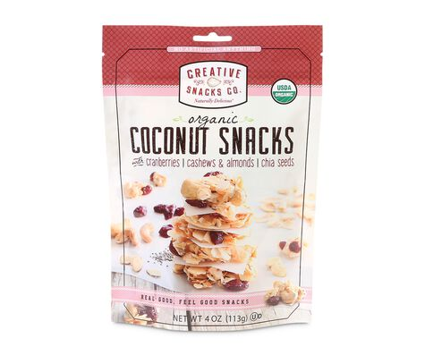 Organic Coconut Snacks with Cranberries, Cashews, Almonds, & Chia Seeds